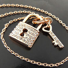 FSA389 GENUINE REAL 18K ROSE GF GOLD DIAMOND SIMULATED PADLOCK KEY PENDANT CHAIN
