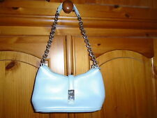Cute duck egg blue mini evening bag / handbag with silver colour chain strap