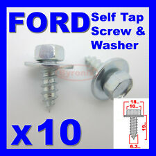 FORD SELF TAPPING SCREWS & WASHER HEX HEAD 10mm  6.3mm X 19mm ZINC