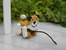 Miniature Dollhouse FAIRY GARDEN Accessories ~ CHRISTMAS Wood Dog Pull Toy ~ NEW