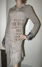 ELISA CAVALETTI Robe Dress Kleid Col Chemise Volant Dentelle Perle Brillant TL