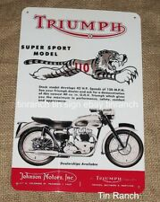 TRIUMPH super sport TIGER 110 TIN SIGN motorcycle T110 vintage motor bike cycle
