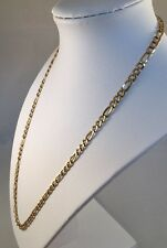 14K Solid Yellow Gold MILOR Italian Figaro Chain Link Necklace 9.1g 4.5mm 21""
