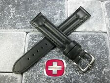 New 22mm SWISS ARMY CAVALRY MILITARY Black Leather Strap Wenger Watch Band 22