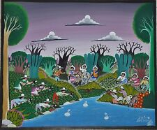 """Original Vintage Mexican Folk Art Painting on Board by Isidro Salvador 12"""" x 10"""""""