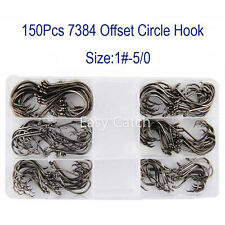 150pcs 7384 2X Custom Offset Circle Fishing Hook Black High Carbon Steel withBox