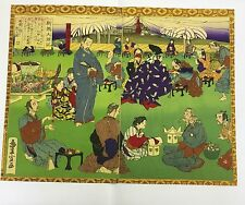 Antique Toyonobu Woodblock Print Double / Diptych People Eating Bright Colours