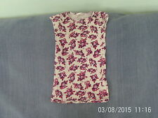 Girls 8-9 Years - White Short Sleeve Top with Pink & Purple Floral Pattern