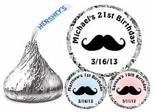 216 MUSTACHE MOUSTACHE BIRTHDAY PARTY FAVORS HERSHEY KISS KISSES LABELS