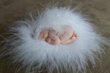 "2.5"" MINIATURE POLYMER CLAY OOAK BALD INFANT ANGEL DOLL ~ W/FLUFF, PHOTO PROP"