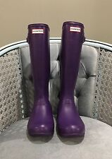 HUNTER Original Tall Purple Rubber Rain Boots Waterproof Wellingtons US 7