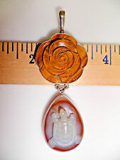 WOW Sajen Sterling 925 Carved Flower & Turtle Pendant: Tiger Eye & Agate  P7205