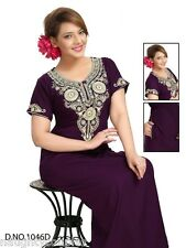 Daily Nightwear Cotton Blended Nightie Womens Gown 1046D Wine Embroidered Lounge