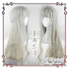 Japanese Harajuku Gothic Sweet Lolita Gray Gradient Curly Fairy Cosplay Wig 70cm