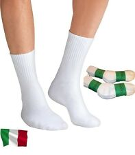 Davido Mens socks crew made in Italy 100% cotton 8 pairs white size 9-11