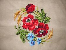 """EP 500 Paragon Red Poppy Vintage Needlepoint Canvas 27""""X27"""""""