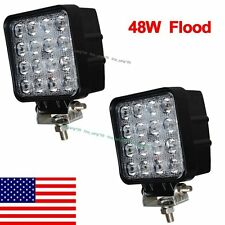 2X 48W Square Led Work Light Flood Off Road Driving for SUV Jeep Truck US Stock