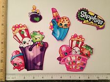 6 pc Large Shopkins Characters Fabric Applique Iron On Ons Cart Poppy Corn