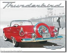 FORD THUNDERBIRD T-Bird Beach Scene Large Vintage Retro Metal Tin Sign New 1271