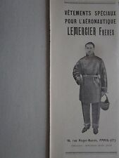 1/1927 PUB LEMERCIER VETEMENTS AERONAUTIQUE COMBINAISON CASQUE PILOTE AVION AD