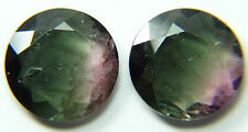 T3-01 Top quality pair flat faceted tourmaline, slice,6.65ct Brazil 11x3mm