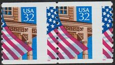 MISPERFED 32¢ FLAG OVER PORCH COIL #2913, MINT NEVER HINGED PAIR