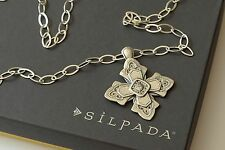 "Silpada NIB Etched Sterling Silver ""Ornate Cross"" Link Chain Necklace N3430"