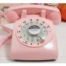 1960's Style Pink Retro Old Fashioned Rotary Dial Telephone PHONE Metal Ring Q