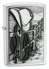 Zippo Chrome Lighter With Cowboy Hat & Rope Western Scene, 24879, New In Box