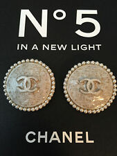 (2) Chanel CC Classy White/Silver Pearl Big Buttons With Gold Flakes - Ltd 2016