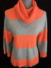 Pure Amici M 100% Cashmere Cowl Neck High Low Sweater Orange Gray Rugby Striped