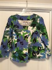 Ladies L Jones Of New York Floral Jacket Button Up Pleated Back Green And Blues