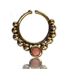 ORNATE FAKE CHEATER 16G BRASS HANGING SEPTUM RING NOSE PINK AGATE STONE SEPTUMS