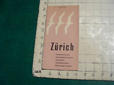 vintage Travel item: Zurich 1958, list of hotels with map, i show entire item