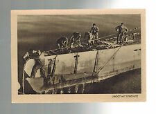 Mint WW 2 Germany RPPC Postcard U Boat Submarine with Crew on Deck 1942