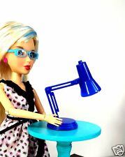1:6 Scale Blue Desk Lamp Light Working LED for Barbie Monster High or Blythe