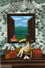 Girl at the window watches the sea Boat with RED SAILS Modern Russian card