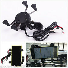 2in1 X-Grip Shape Motorbike Bike Mobile Phone Mount Holder USB Charger Universal