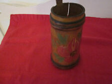 "Antique treenware container with word ""Henan"" Painted flower."