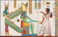 Ancient Egypt: Pharoah Ramses IV makes an offering to Isis. Fine Art Print