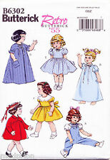 "BUTTERICK SEWING PATTERN 6302 18"" RETRO/VINTAGE '55 DOLL CLOTHES, DRESS TOP COAT"