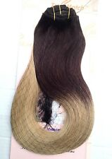 Ombre Clip in Human Hair Extensions Remy Black Brown Blond Caramel Red Thick