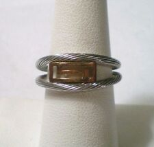 Modern Luxe Spain Two Tone 18K Yellow Gold & Steel Braided Cable Adjustable Ring