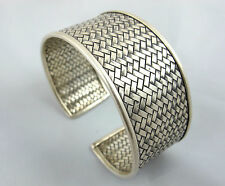 Hill Tribe 999 Silver Bangle Handmade Karen Bracelet Woven Tribal Chunky Thai