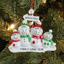 North Pole Family of 4 Personalized Christmas Tree Ornament Holiday Gift