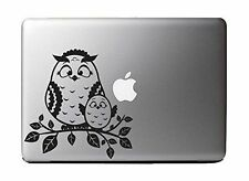 "Mommy and Baby Owl on a Branch, Black Vinyl Decal Sticker for 13"" Macbook"