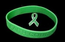 Green Awareness Ribbon Pin Silicone Bracelet Set Kidney Cancer Cerebral Palsy