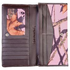 BROWNING BROWN LEATHER CONTINENTAL WALLET - MOSSY OAK PINK CAMO - LADIES, WOMENS