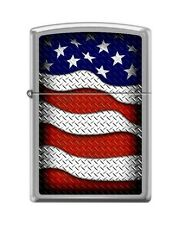 Zippo 0598 USA Flag Waving Brushed Chrome Finish Full Size Lighter