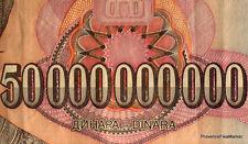 YOUGOSLAVIE billet circule 50 MILLIARDS de DINARS Pick136  MILAN OBRENOVICH 1993